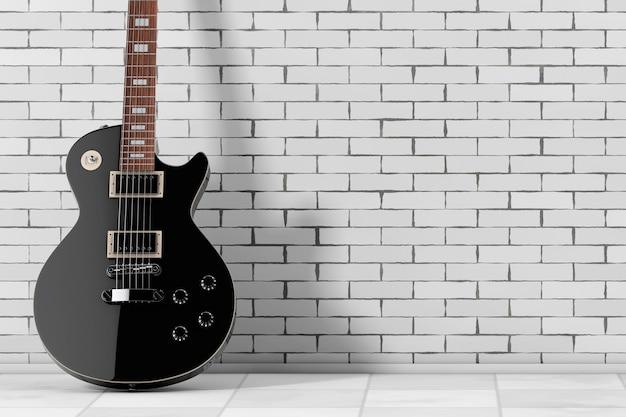 Belle guitare électrique noire de style rétro devant le mur de briques. rendu 3d