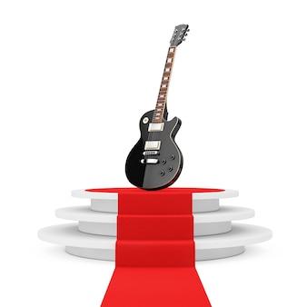 Belle guitare électrique noire de style rétro sur piédestal rond blanc avec marches et tapis rouge sur fond blanc. rendu 3d