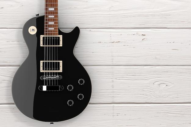 Belle guitare électrique noire de style rétro sur une table en bois. rendu 3d