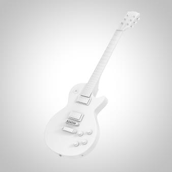Belle guitare électrique rétro blanche en style argile sur fond blanc. rendu 3d