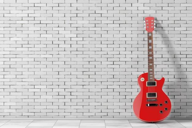 Belle guitare électrique rouge dans un style rétro devant le mur de briques. rendu 3d
