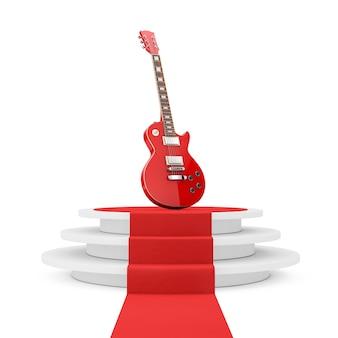 Belle guitare électrique rouge de style rétro sur piédestal rond blanc avec marches et tapis rouge sur fond blanc. rendu 3d