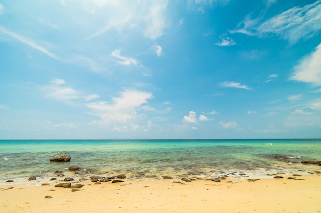 Belle île paradisiaque avec plage vide et mer