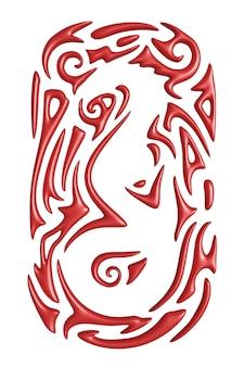 Belle illustration de fantaisie 3d avec motif rouge coloré autour de la silhouette du serpent monstre blanc