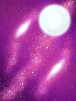 Belle illustration de la galaxie et de la planète de l'espace violet