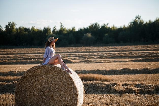Une belle jeune femme dans un chapeau et une robe d'été est assise sur une gerbe de foin dans un champ. nature rurale, champ de blé