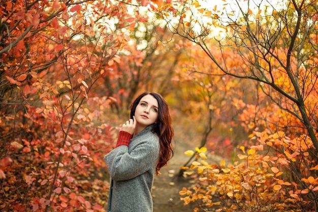 Belle jeune femme en manteau gris nager marchant dans un parc en automne avec des feuilles jaunes et rouges