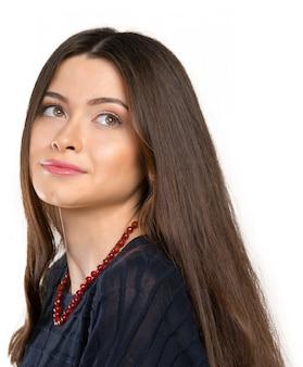 Belle jeune femme visage agrandi