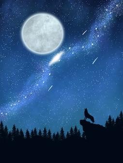 Belle lune et galaxie avec loup