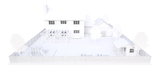 Belle maison blanche moderne. illustration 3d.