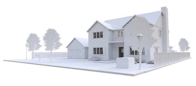 Belle maison blanche moderne. illustration 3d