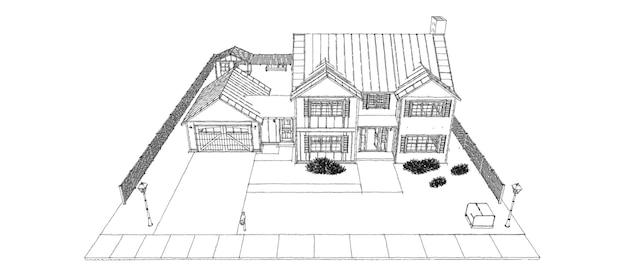 Belle maison moderne. croquis de conception de chalet. illustration 3d.