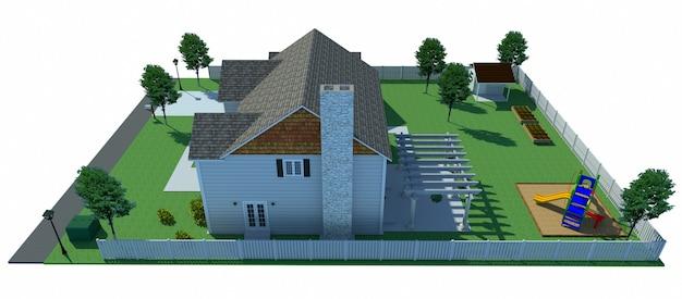 Belle maison moderne. illustration 3d