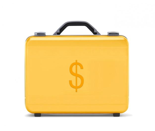 Belle mallette en or représentant un dollar en argent et des affaires
