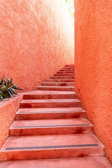 Belle marche d'escalier rose et orange