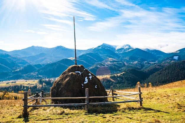 La belle nature fraîche des carpates est représentée dans les hautes collines de forêts colorées, de vertes prairies et d'un ciel bleu extraordinaire