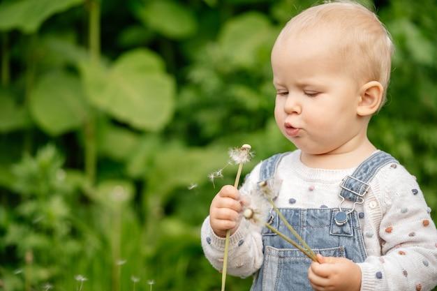 Belle petite fille soufflant une fleur de pissenlit dans le parc d'été. heureux bébé mignon s'amuser en plein air.