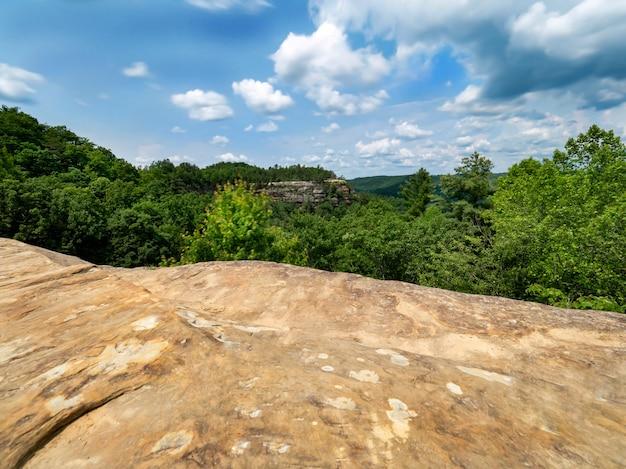 Belle photo d'un champ entouré de collines boisées sous un ciel clair
