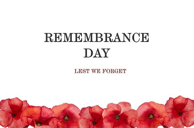 Belle photo de fleurs de pavot. joyeux jour du souvenir. gros plan, vue d'en haut. concept de fête nationale. félicitations pour la famille, les parents, les amis et les collègues