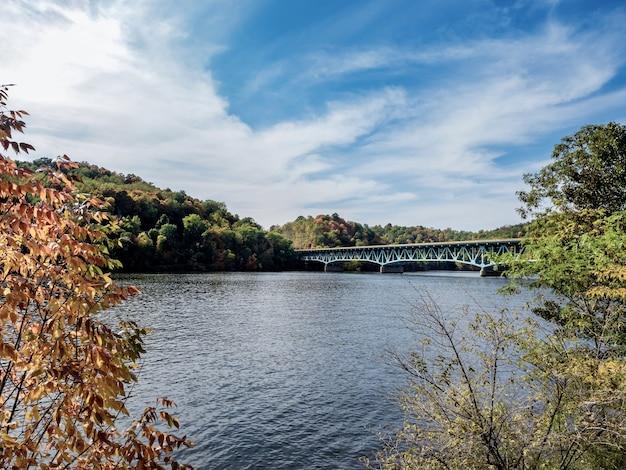 Belle photo d'un lac près d'un pont sous un ciel bleu nuageux en automne