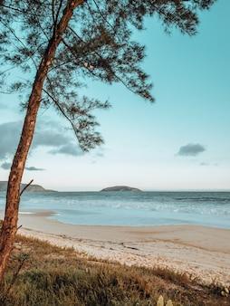 Belle photo de la mer sur la plage de rio de janeiro pendant le coucher du soleil avec des vagues qui se brisent