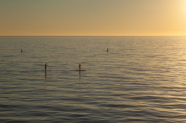 Belle photo de paddle boarders sup surfant sur l'eau au coucher du soleil