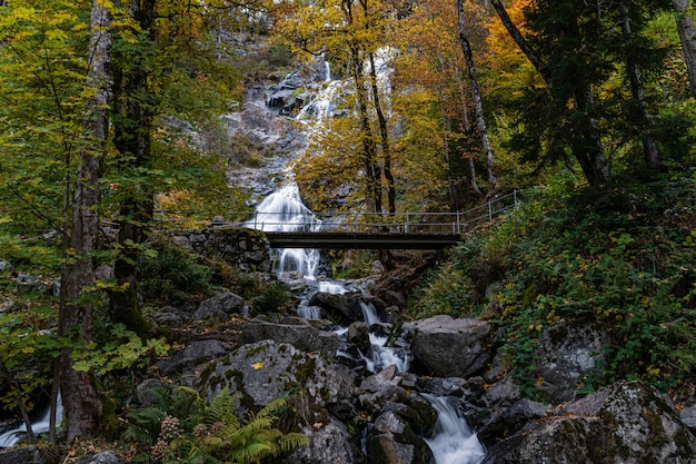 Belle photo de la pittoresque cascade todtnau dans la forêt-noire, allemagne