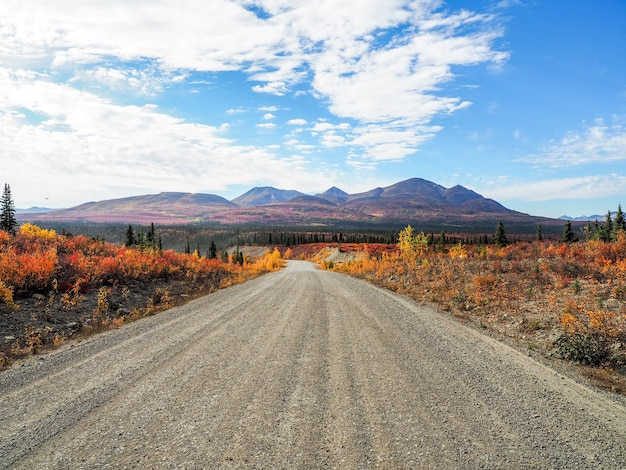 Belle photo d'une route de montagne sous le soleil