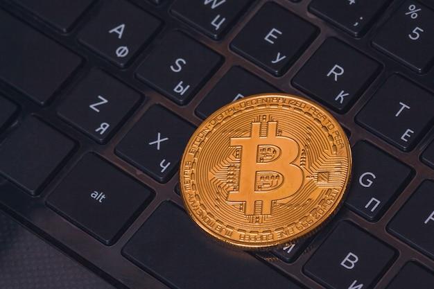 Belle pièce de monnaie bitcoin btc closeup