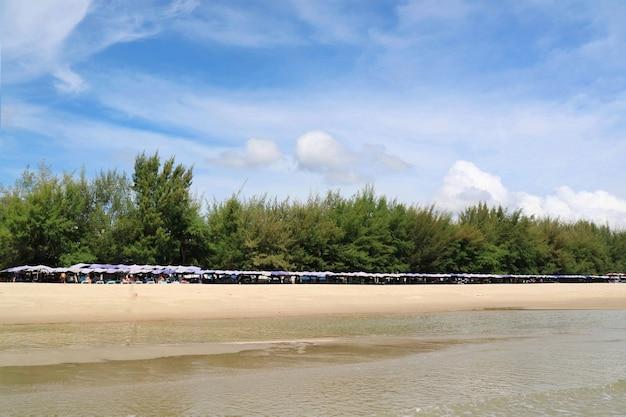 Belle plage de mer tropicale avec lit plage et parasol avec des pins dans la matinée d'été.