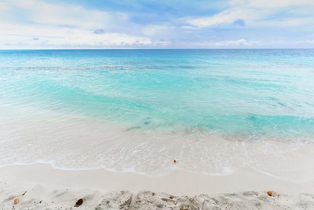 Belle plage et mer turquoise cristalline dans l'île tropicale des maldives