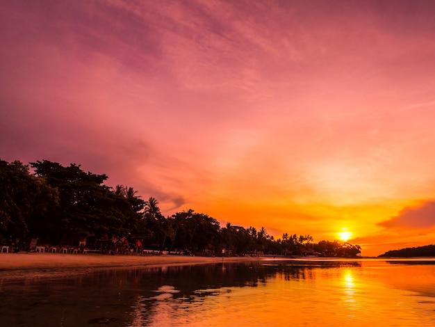 Belle plage tropicale mer et océan avec cocotier au lever du soleil