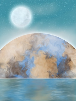 Belle planète avec illustration de réflexion de la lune