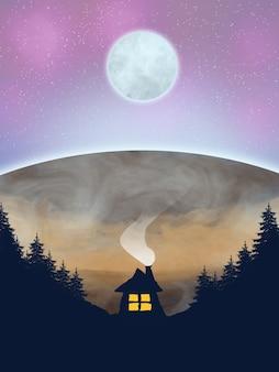 Belle planète avec la lune et la maison forestière