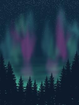 Belle prime de fond d'écran de nuit verte aurore