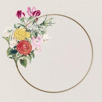 Belle renoncule cercle cadre fleur colorée illustration vintage