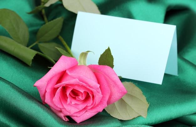 Belle rose sur tissu vert