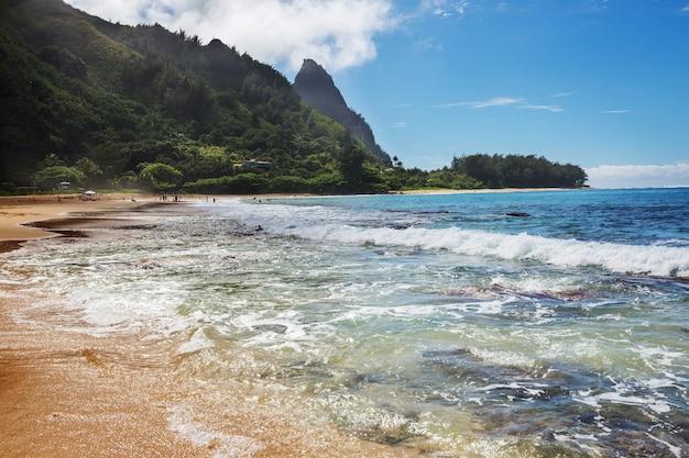 Belle scène à tunnels beach sur l'île de kauai, hawaii, usa