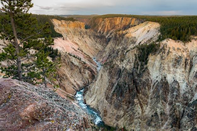 Belle Vue Aérienne De La Rivière Yellowstone Photo Premium