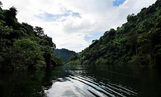 Belle vue sur un lac et ciel bleu