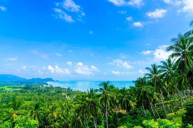 Belle vue sur la mer de l'océan au point de vue de naern thae wada à nakhon si thammarat, thaïlande