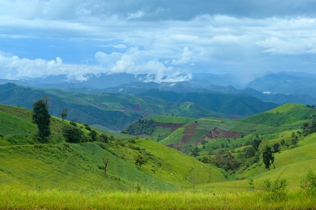 Belle vue sur la montagne verte en saison des pluies, climat tropical