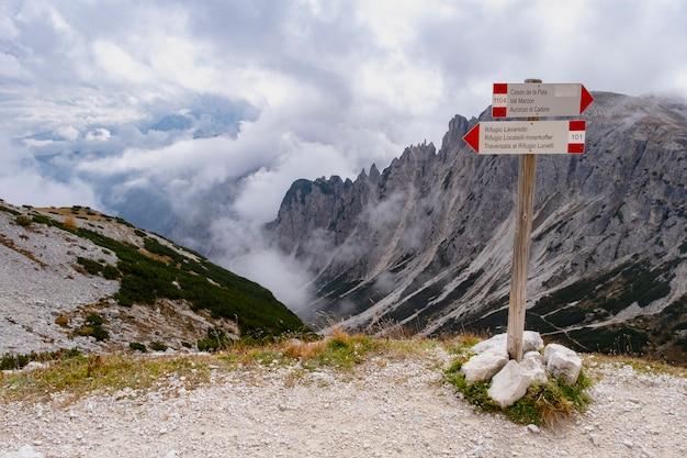 Belle vue sur le paysage au rifugio auronzo dolomite italie.