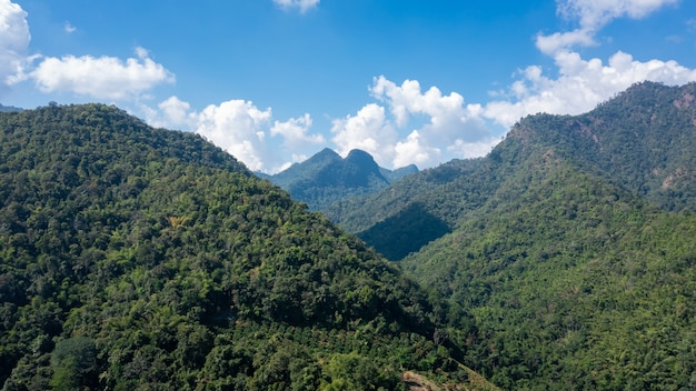 Belle vue sur les paysages de montagne verte et ciel bleu pendant la saison des pluies, climat tropical chiangmai