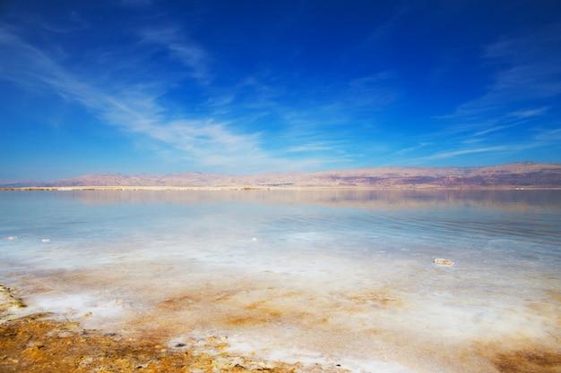 Belle vue sur le rivage salé de la mer morte aux eaux claires. ein bokek, israël.