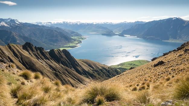 Belle vue avec des touffes sèches prairies vertes luxuriantes lac bleu nouvelle-zélande