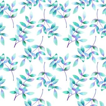 Belles branches avec des feuilles bleu violet vert. modèle sans couture. illustration aquarelle dessinée à la main. texture pour impression, tissu, textile, papier peint.