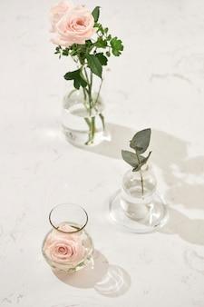 Belles fleurs roses dans un vase