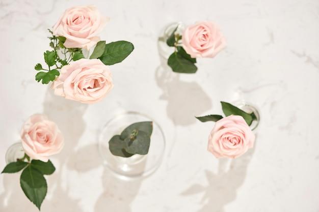 Belles Fleurs Roses Dans Un Vase Photo Premium
