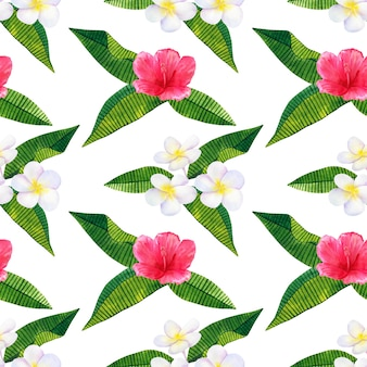 Belles fleurs roses rouges hibiscus et frangipanier blanc ou plumeria. modèle sans couture. illustration aquarelle dessinée à la main.